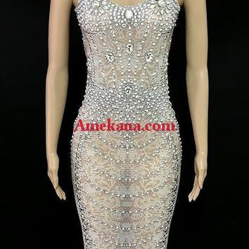 Tyra Mesh Diamante Evening Dress