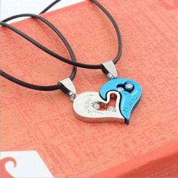 PEAPUG3 2015 Fashion couples pendant heart-shaped diamond necklace HB302 = 1929573188