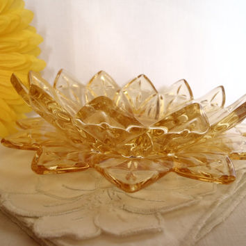 Vintage serving plates | Federal glass yellow petal | sunburst | set of 2 | house ware | yellow glass | 1960's