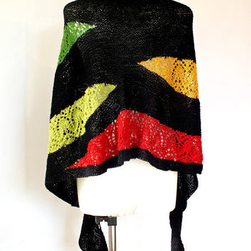 OOAK Lace Knit Black Multicolor Rainbow Merino Wool Shawl Wrap Boho Style Scarf Snood Infinity Fall Winter Fashion Woman Lady Extra Long