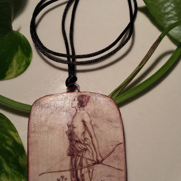 Diana of the Hunt by Arthur Rackham, Hand Made Paper Pendant