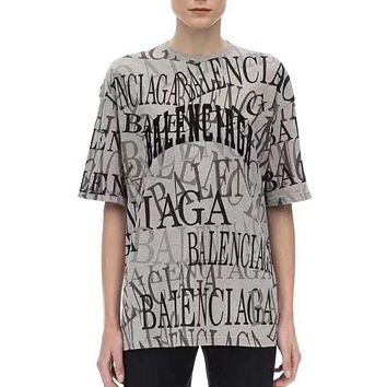 Balenciaga Fashion New More Letter Print Women Men Top T-Shirt Gray