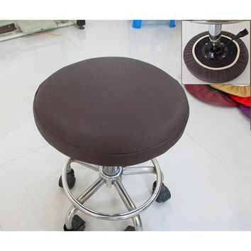 Round Stool Cover Elastic Chair Cover Faux Leather Chair Cover Dining Chair Slipcover Dentist Seat Covering