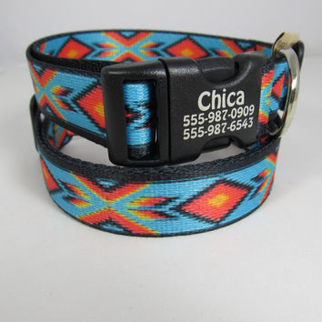 Faux Bead Sublimated dog collar with personalization on buckle