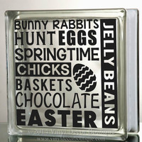 Easter Subway Art Glass Block Decal Tile Mirrors DIY Decal for Glass Blocks Easter Chocolate