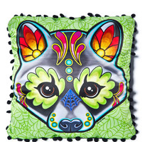 Sourpuss Clothing Racoon Woodland Pillow Green One
