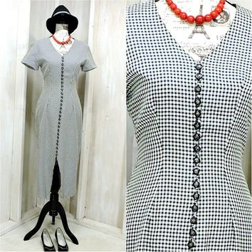 Vintage 80s dress / S size 5 / 6 /  houndstooth /  Secretary / Black White / hourglass / JDB California USA
