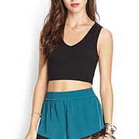 FOREVER 21 Lace-Trimmed Shorts Emerald/Black