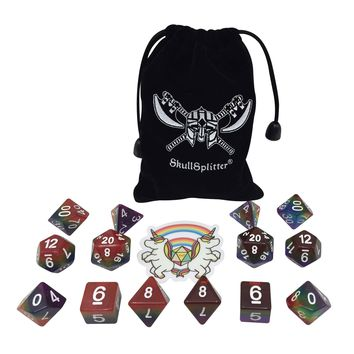 Double Rainbow - Two Sets of 7  Rainbow Colored Polyhedral RPG Dice for Dungeons and Dragons with Double Rainbow Sticker and Dice Bag with Logo