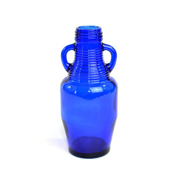 Cobalt Blue Glass Jug Bottle with Handles - Deep, Bold Color Pop Accent, Wide-Mount Top, Repurpose as Vase - Vintage Home Decor or Upcycle