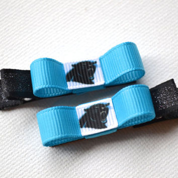 Carolina Panthers Hair Clips - Toddler Hair Clips - Carolina Panthers Bows - Carolina Panthers Stocking Stuffer