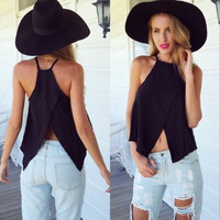 All-match Fashion Halter Strap Crisscross Strapless Exposed Navel Tops