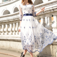 White Floral Embroidery Mesh Scallop Half Sleeve A-Line Maxi Dress