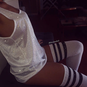 White Crystallized athletic mesh tank.