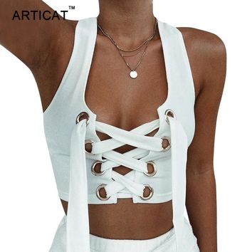 Articat Lace Up V Neck Sexy Crop Tops Women 2017 Off Shoulder Sleeveless Bandage Tank Top Casual Black Short Women Tops Camisole