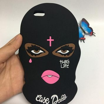 PLBB Brand 3D Big Eyes Mask Teared Girls Jesus Christian Cross Coque Case for iPhone 6s 6 7 8 plus 5 5S SE X Silicone Capa Cover