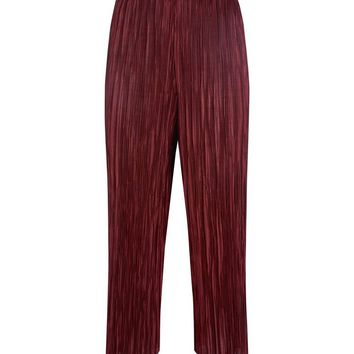 Burgundy Pleated Culottes | New Look
