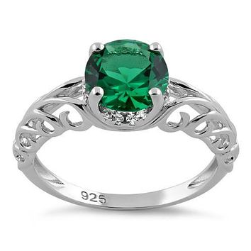 A 2CT Round Cut Emerald Green Russian Lab Diamond Solitaire Engagement Ring