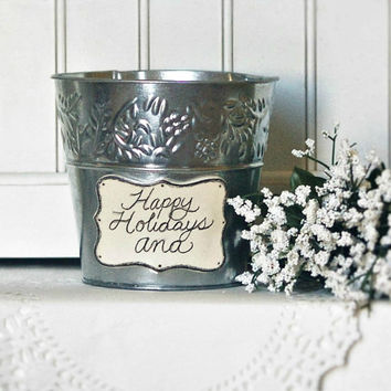 Personalized Gift Bucket - Ceramic Name Plate Tin Bucket - Party Gift - Personalized Birthday Gift - Tin Bucket