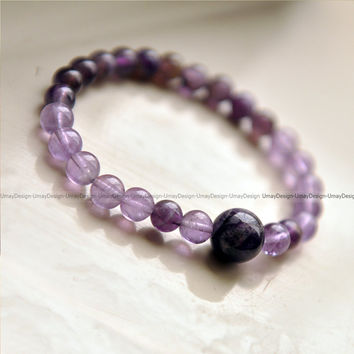 Amethyst Beaded Bracelet, Natural Stone Beads, Gift For Her, Woman Fashion, Trendy, Purple
