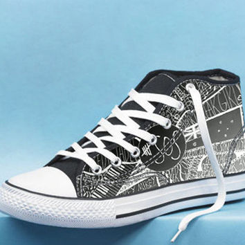 5 Seconds of Summer Collage art High Top Canvas Shoes