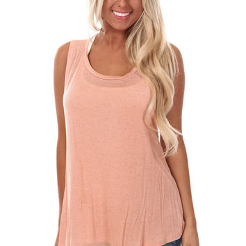 Peach Cut Back Layered Tank Top
