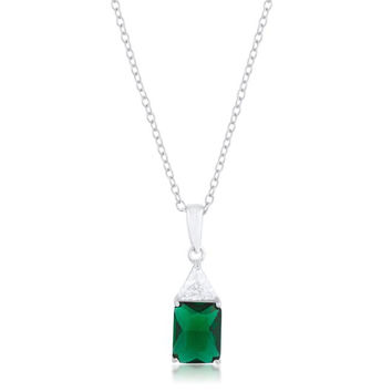 Classic Emerald Cubic Zirconia Sterling Silver Drop Necklace