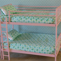 Doll Bed Metal Bunk Bed Miniature 1/6 Playscale, Barbie, Blythe
