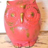 Hot Pink Owl upcycled distressed gold mantle decor bright housewares owl decor small