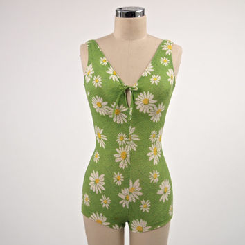 Vintage Swimsuit  One Piece Cute 60's Cole of California Lime Green with Daisies Semi Sheer Tanning Fabric Tie Front Bra