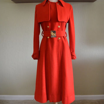 Jaw Dropping Vintage Saks Fifth Avenue Red Wool Winter Coat with Lion Buckle Belt, Back Yoke, Size Small, 1980s