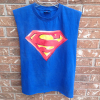 Superman tank// grunge// cut off // sliced // cut and tied // super hero