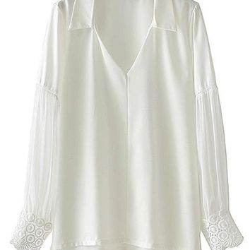Chiffon Sleeve Embroidery Cuff Blouse