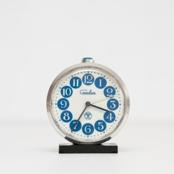 Slava Alarm Clock - NOT WORKING, Blue Circles Desk Clock, Russian Desk Clock, Slava Soviet Union, Dots, Geometric, Modern, ohtteam