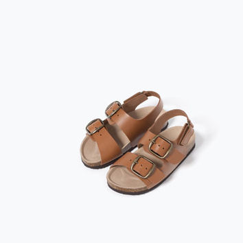 LEATHER HOOK AND LOOP SANDALS - SHOES-BABY BOY | 3 months-3 years-KIDS | ZARA United States