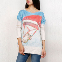 Cartoon Pattern Batwing Sleeve Knit Pullover Sweater