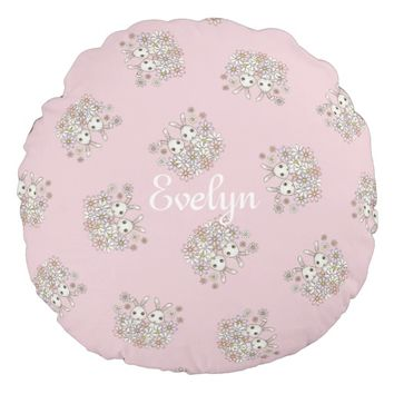 Cute Twin Bunny Pattern Personalized Kids Name Pastel Pink Round Pillows for Girls