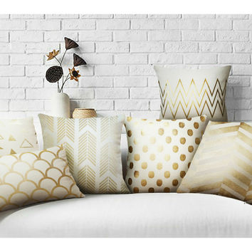 Gold Solid Linen Pillow gold shams Matelic CushionNo inner for home sofa chair Decorative Pillows coffee shop office throw