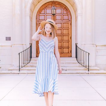 Striped Ruffle Maxi Light Denim