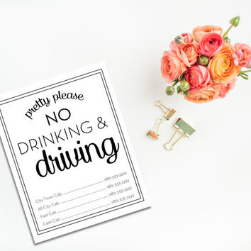 Bar Cart Sign - No Drinking and Driving - Cab Number Sign - Wedding Sign - Celebration - Digital Download - Printable