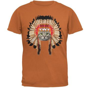DCCKJY1 Thanksgiving Funny Cat Native American Texas Orange Adult T-Shirt