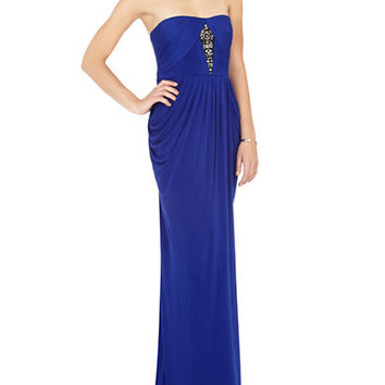 Bcbgmaxazria Simona Strapless Draped High Slit Gown