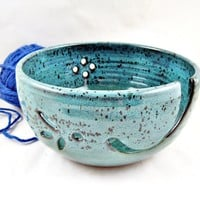 Teal blue Pottery Yarn bowl, knitting bowl - In stock