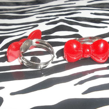 Adorable Style Red Bow Ring