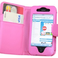 iTALKonline HOT PINK Executive Wallet Case Cover Skin Cover with Credit / Business Card Holder For