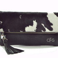 Cow hide Patterned Monogram Clutch Bag