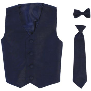 Navy Blue Poly-Silk Boys Vest & Tie Set 3M-14