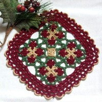 Celtic Woven Design in Red, Green, Gold - Fiber Art Home Decor