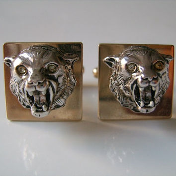 Vintage Dramatic Majestic Panther Tiger Jaguar or Big Cat Gold & Silver Tone Metal Cufflinks Cuff Links Very Cool Looking Piece Men Jewelry