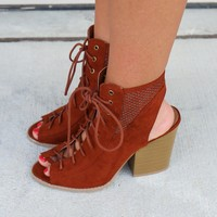 MODEL SZ 10 Falling For You Whiskey Lace Up Booties